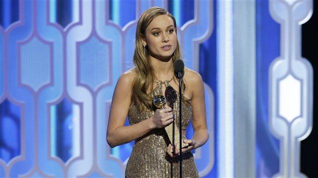 Brie Larson, gagnante du Golden Globe de la meilleure actrice dans un film dramatique dimanche à Los Angeles
