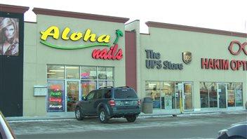 Le salon d'esthétique Aloha Nails situé sur l'avenue Regent à Winnipeg