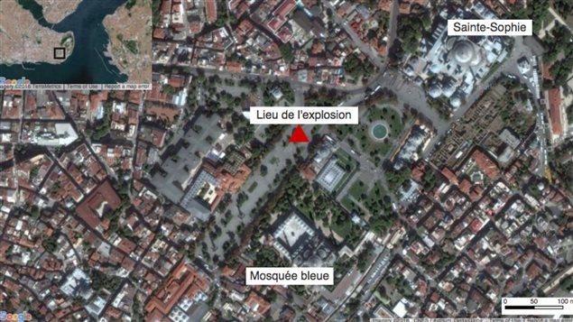 L'explosion a eu lieu non loin de la mosquée Bleue.
