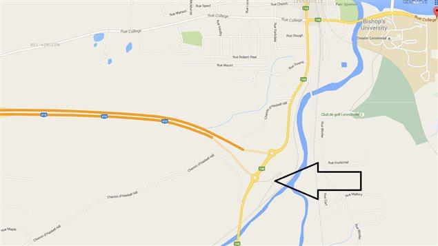 Lieu de l'affaissement de terrain dans le secteur Lennoxville de Sherbrooke