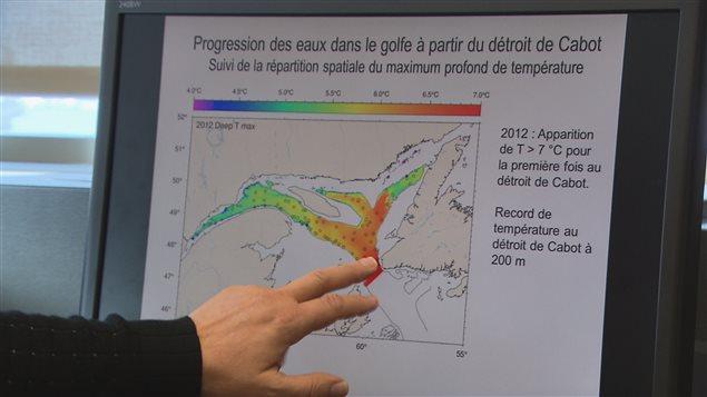 Tableaux montrant le réchauffement du Golfe Saint-Laurent.
