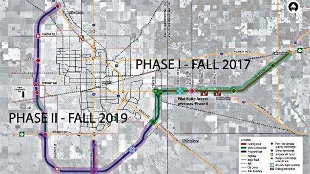 Le projet de la voie de contournement de Regina devrait coûter près de 1,88 milliard de dollars, et permettre aux camions d'éviter le centre-ville