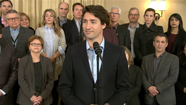 Justin Trudeau en point de presse à St. Andrews, au Nouveau-Brunswick