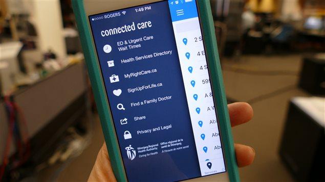 L'application Soins Branchés permet entre autres de connaitre le temps d'attente pour les services d'urgence à Winnipeg.