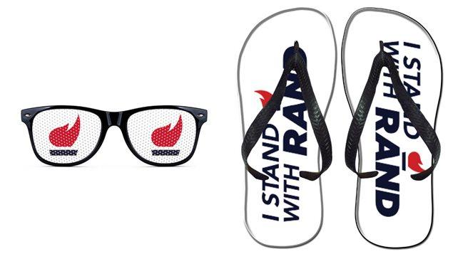 Des lunettes et des sandales vendues sur le site officiel de Rand Paul