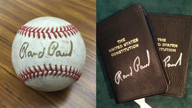 Rand Paul vend aussi des objets autographiés pour financer sa campagne.