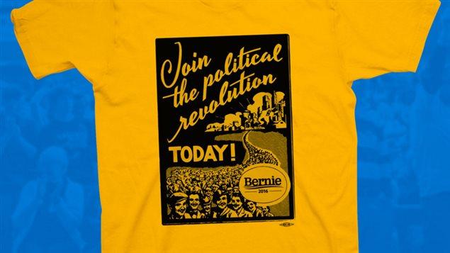Un t-shirt de l'équipe Sanders 2016 évoquant les années 1930