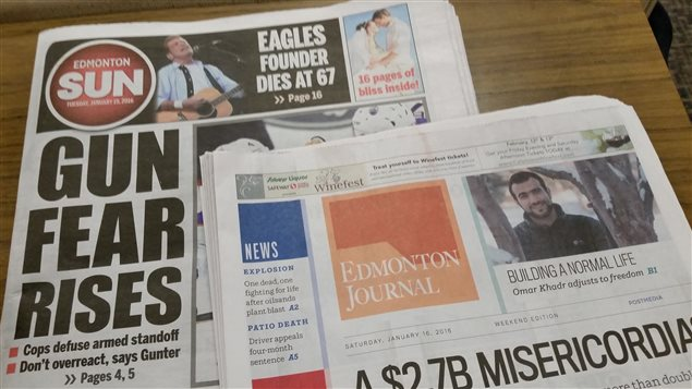Postmedia a décidé de fusionne les salles de nouvelle du Edmonton Sun et du Edmonton Journal.