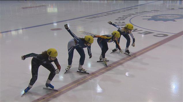 Entraînement de patinage de vitesse au Centre Georges-Vézina