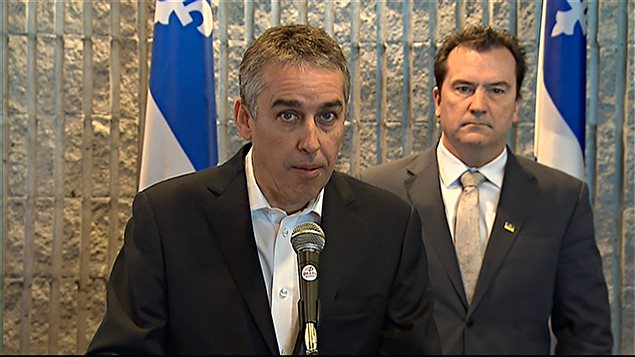 Nicolas Marceau et Alain Therrien, respectivement députés de Rousseau et de Sanguinet pour le Parti québécois