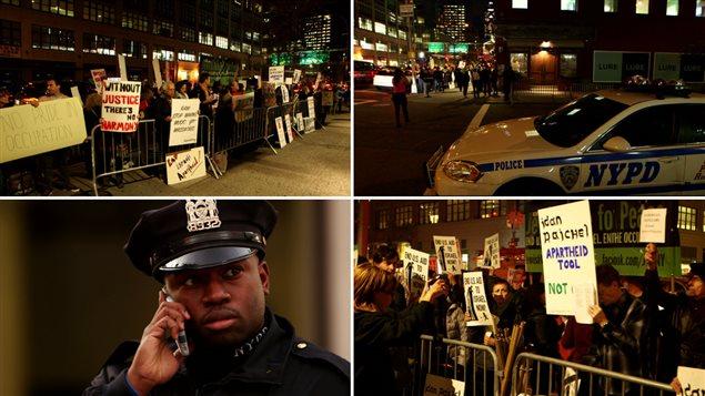 New York, le 16 octobre 2015. Des manifestants devant scandent : «Musique pour la libération et non pour blanchir l'occupation!»