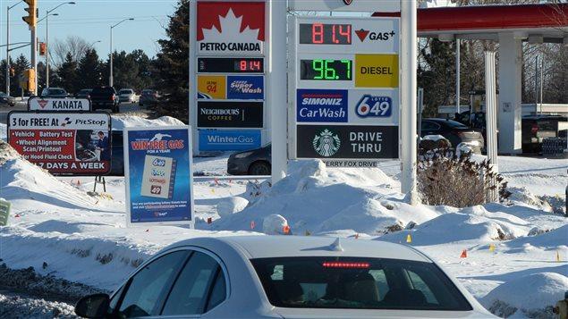 Le prix à la pompe à Ottawa, le 20 janvier.