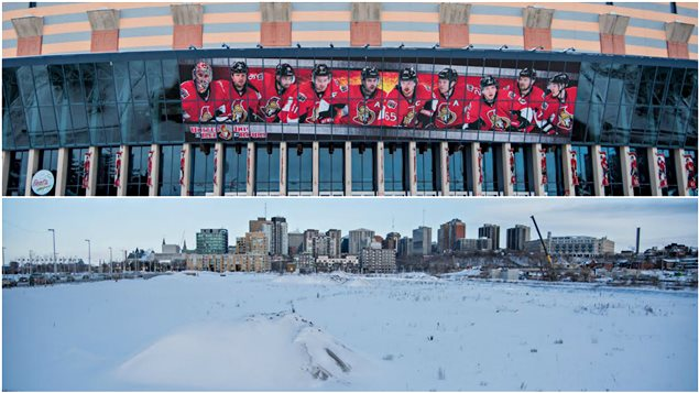 Un montage photo avec la façade du Centre Canadian Tire et les plaines LeBreton.