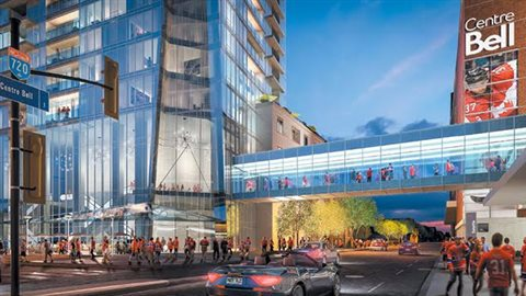 La passerelle qui sera construite entre la Tour des Canadiens 2 et le Centre Bell