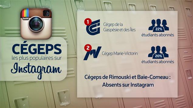 Tableau des collèges publics où l'abonnement à Instagram est le plus fréquent