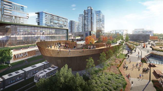 Une espace public proposé par le groupe DCDLS pour le réaménagement des plaines LeBreton.