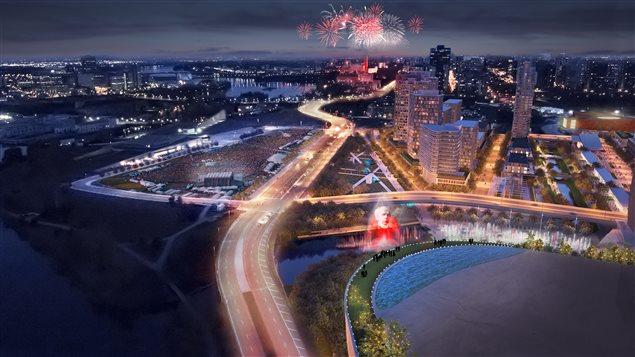 Vue aérienne en soirée du projet présenté par RendezVous Lebreton.