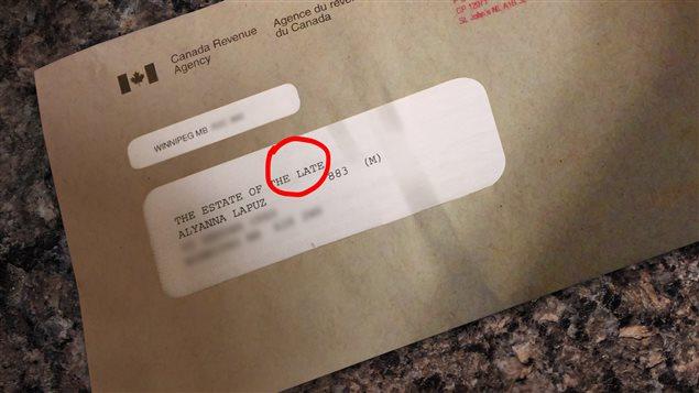 Le 7 janvier, Alyanna Lapuz a reçu une lettre de l'ARC qui était adressée à «la succession de feue Alyanna Lapuz».