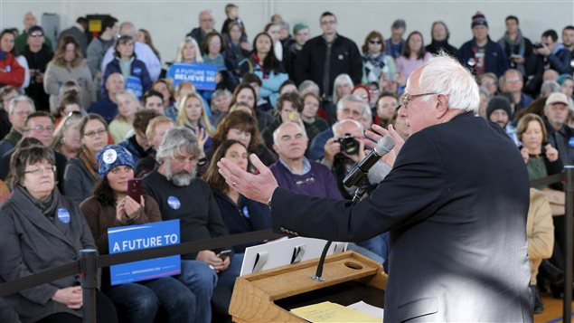 Bernie Sanders lors d'un rassemblement à Peterborough, au New Hampshire, le 21 janvier 2016