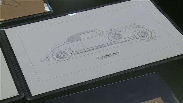 Dessin d'une voiture conservée dans les archives automobile de la bibliothèque municipale de Windsor.