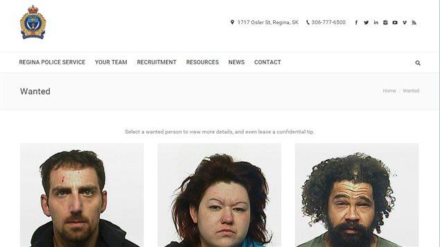 Le nouveau site «Recherchés» de la police de Regina,