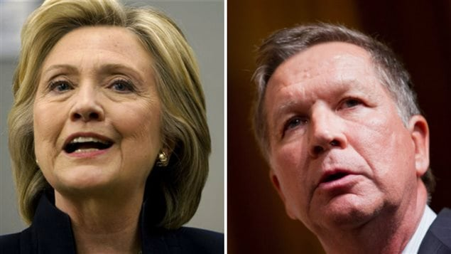 Hillary Clinton (gauche) et John Kasich (droite)