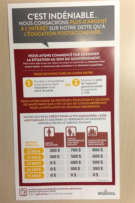 Le document du gouvernement du Nouveau-Brunswick sur les dédommagements pour les moins nantis touchés par l'augmentation de la TVH.