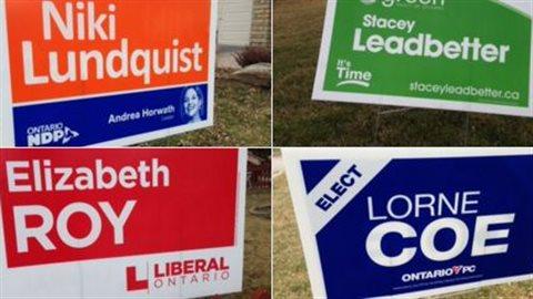 Affiches des candidats à l'élection partielle dans Whitby-Oshawa.