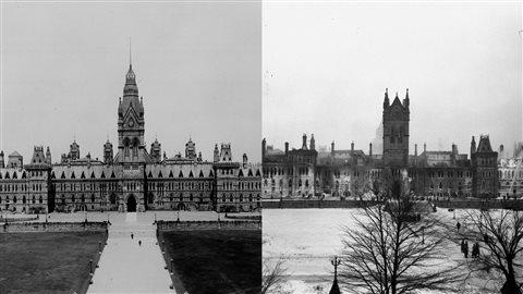 Le parlement du Canada, avant et après l'incendie.
