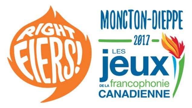 Le nouveau logo et le slogan des Jeux de la francophonie canadienne Moncton-Dieppe 2017, « Right fiers ».