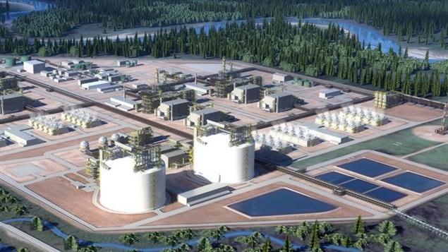 Une représentation du projet de gaz naturel liquéfié LNG Canada à Kitimat en Colombie-Britannique.