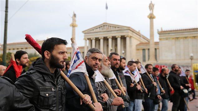 Des membres du Parti communiste PAME ont défilé dans le centre d'Athènes.