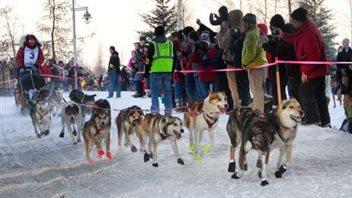 Un meneur de chiens au départ de la Yukon Quest à Fairbanks en Alaska
