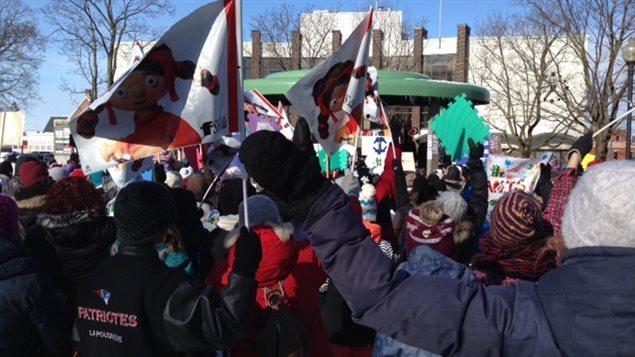 Une manifestation d'appui aux centres de la petite enfance à Drummondville