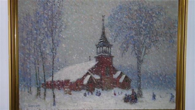 La vieille église de Sherbrooke-Est par temps de neige de Suzor-Coté