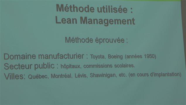 Tabelau montrant la méthode utilisée: Lean Management