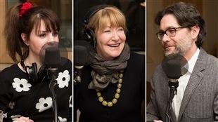 L'auteure Daphné B., la comédienne Louise Deschâtelets et l'auteur Maxime Olivier Moutier