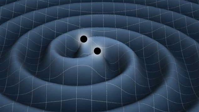 Illustratiion artistique d'un couple de trous noirs produisant des ondes gravitationnelles dans l'espace temps.