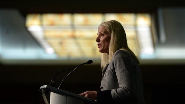 La ministre de l'Environnement Catherine McKenna, lors d'un discours devant la fédération des municipalités canadienne, le 10 février.