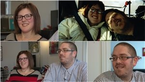 Koralie Boyer, 26 ans, qui est atteinte de paralysie cérébrale depuis sa naissance, et Emmanuel Lapointe, 29 ans, qui n'a aucun handicap.