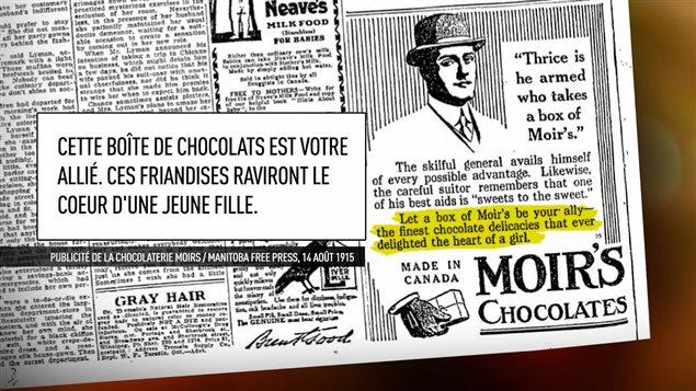 Aux balbutiements de la commercialisation du chocolat, les publicités misaient sur les valeurs de l'époque et s'adressaient presque uniquement aux hommes.