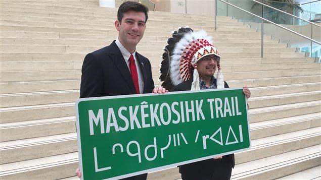 Le maire d'Edmonton Don Iveson et le chef cri d'Enoch Billy Morin.