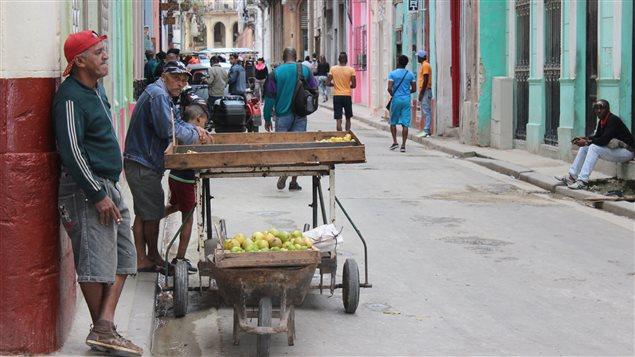 Un marchand de fruits, dans l'une des rues du vieux quartier de La Havane. Cuba, malgré la richesse de ses terres, importe les deux tiers de la nourriture qu'elle consomme. (17 janvier 2016)