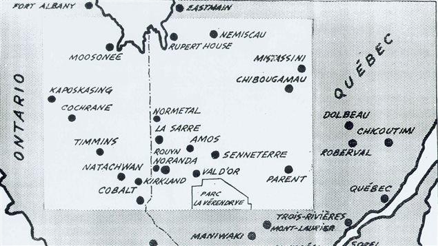 Carte imaginée pour la 11e province. Source : Maurice Roy, Le Petit Journal, L'Abitibi veut se séparer du Québec, une onzième province? 13 novembre 1966