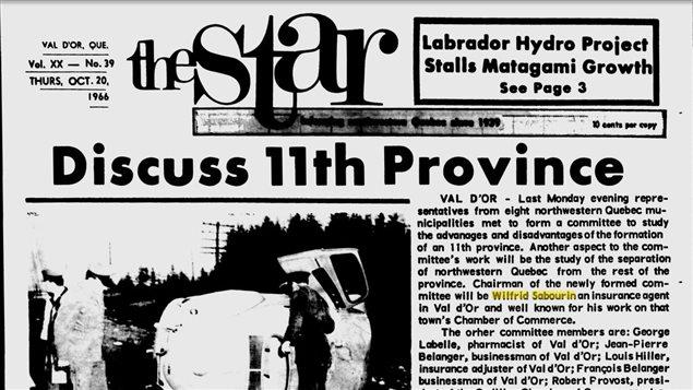 Première page du journal The Star de Val-d'Or, 20 octobre 1966