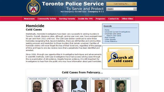 La police de Toronto lance un nouveau site Internet dans le but d'élucider des meurtres non résolus.