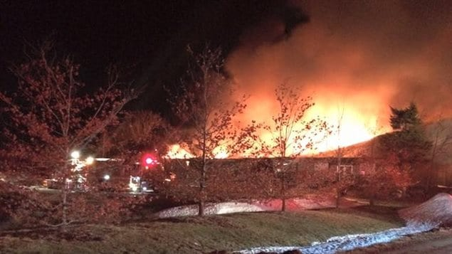 Incendie le long du chemin de Salisbury à Moncton