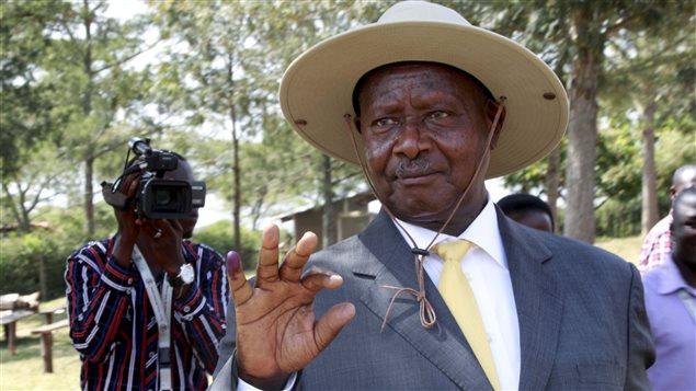 Le président sortant Yoweri Museveni après avoir voté ce matin à Kirihura  dans l'ouest du pays
