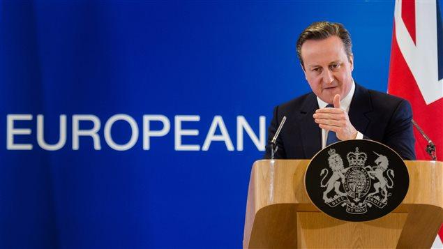 Le premier ministre britannique David Cameron lors d'un point de presse à Bruxelles le 19 février 2016