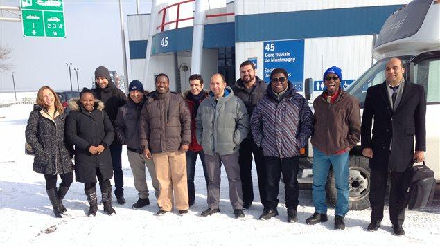 Le groupe d'immigrants à leur arrivée à Montmagny.